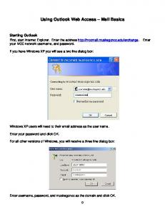 Using Outlook Web Access Mail Basics