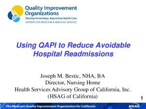 Using QAPI to Reduce Avoidable Hospital Readmissions