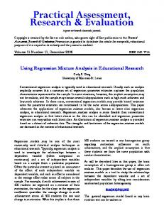 Using Regression Mixture Analysis in Educational Research