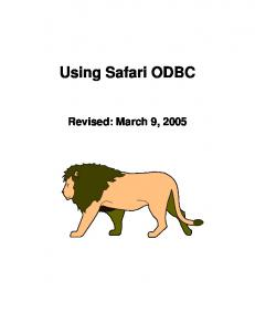 Using Safari ODBC. Revised: March 9, 2005