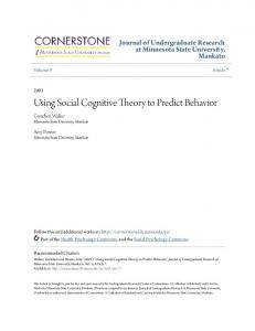 Using Social Cognitive Theory to Predict Behavior