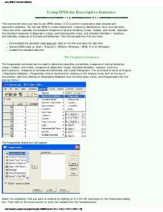 Using SPSS for Descriptive Statistics