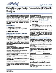 Using Synopsys Design Constraints (SDC) with Designer