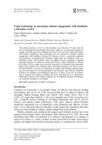 Using technology to encourage student engagement with feedback: a literature review