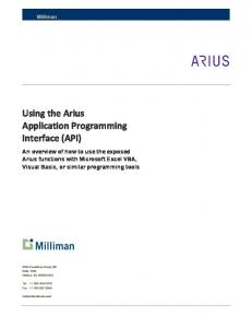 Using the Arius Application Programming Interface (API)