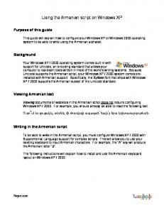 Using the Armenian script on Windows XP