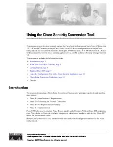 Using the Cisco Security Conversion Tool