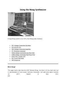 Using the Moog Synthesizer