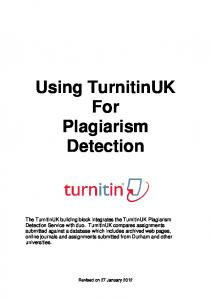 Using TurnitinUK For Plagiarism Detection