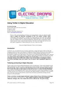 Using Twitter in Higher Education