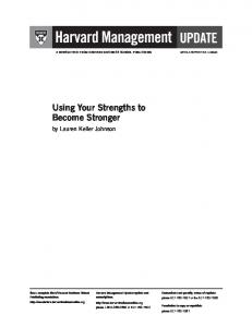 Using Your Strengths to Become Stronger