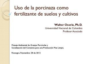 Uso de la porcinaza como fertilizante de suelos y cultivos