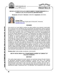 USO DE LAS REDES SOCIALES COMO ELEMENTO TRANSFORMADOR DE LA CONDUCTA DE LOS ESTUDIANTES UNIVERSITARIOS