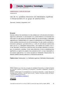 Uso de tic: posibles relaciones con habilidades cognitivas e interpersonales en un grupo de adolescentes