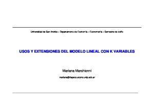 USOS Y EXTENSIONES DEL MODELO LINEAL CON K VARIABLES