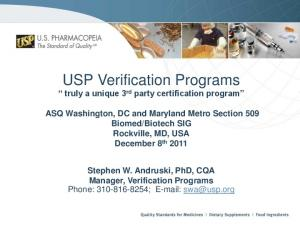 USP Verification Programs truly a unique 3 rd party certification program