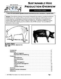 USTAINABLE HOG LIVESTOCK PRODUCTION GUIDE