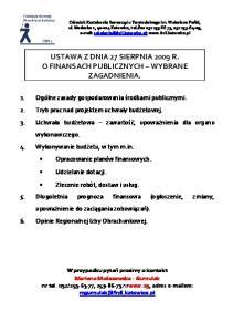 USTAWA Z DNIA 27 SIERPNIA 2009 R. O FINANSACH PUBLICZNYCH WYBRANE ZAGADNIENIA