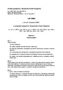 USTAWA. z dnia 6 listopada 2008 r. o prawach pacjenta i Rzeczniku Praw Pacjenta