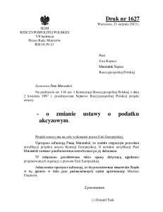 USTAWA. z dnia. o zmianie ustawy o podatku akcyzowym 1)