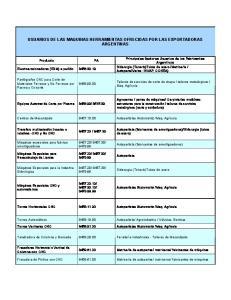USUARIOS DE LAS MAQUINAS HERRAMIENTAS OFRECIDAS POR LAS EXPORTADORAS ARGENTINAS