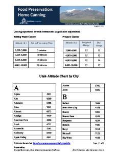 Utah Altitude Chart by City