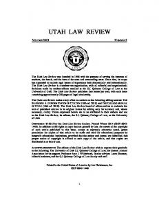 UTAH LAW REVIEW VOLUME 2013 NUMBER 5