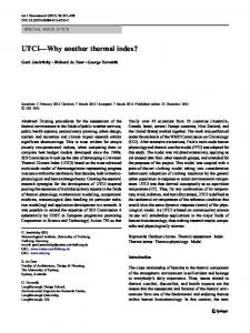 UTCI Why another thermal index?