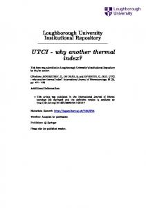 UTCI - why another thermal index?