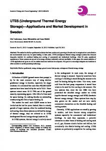 UTES (Underground Thermal Energy Storage) Applications and Market Development in Sweden