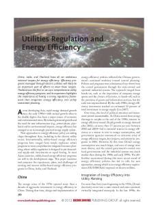 Utilities Regulation and Energy Efficiency