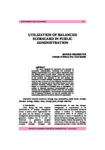 UTILIZATION OF BALANCED SCORECARD IN PUBLIC ADMINISTRATION