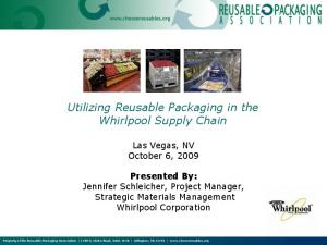 Utilizing Reusable Packaging in the Whirlpool Supply Chain