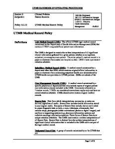 UTMB Medical Record Policy