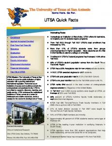 UTSA Quick Facts. Come Here. Go Far. Interesting Facts: