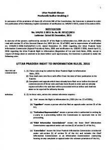 UTTAR PRADESH RIGHT TO INFORMATION RULES, 2015