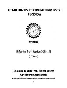 UTTAR PRADESH TECHNICAL UNIVERSITY, LUCKNOW