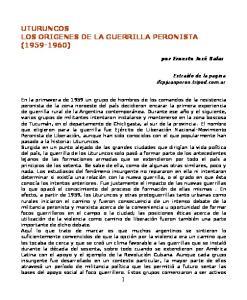 UTURUNCOS LOS ORIGENES DE LA GUERRILLA PERONISTA ( )