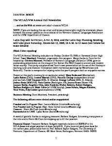 UVM Annual Fall Newsletter