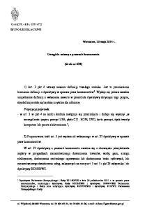 Uwagi do ustawy o prawach konsumenta. (druk nr 632)