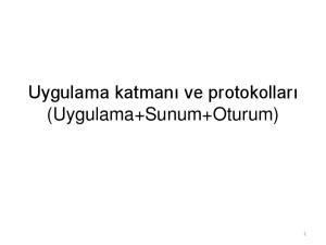 Uygulama katmanı ve protokolları (Uygulama+Sunum+Oturum)