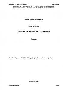 UZBEK STATE WORLD LANGUAGES UNIVERSITY HISTORY OF AMERICAN LITERATURE