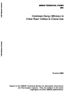 Uzbekistan Energy Efficiency in Urban Water Utilities in Central Asia