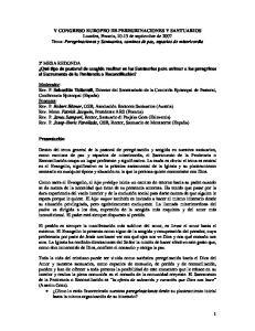 V CONGRESO EUROPEO DE PEREGRINACIONES Y SANTUARIOS