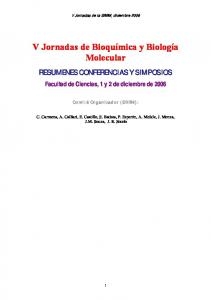 V Jornadas de Bioquímica y Biología Molecular