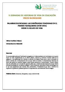 V JORNADAS DE HISTORIAS DE VIDA EN EDUCACIÓN VOCES SILENCIADAS
