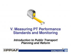 V. Measuring PT Performance Standards and Monitoring