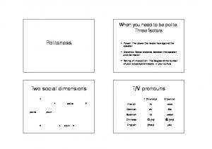 V pronouns. Two social dimensions. When you need to be polite: Three factors. polite. plain