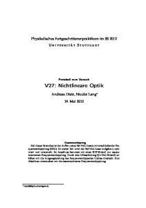 V27: Nichtlineare Optik