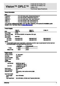 V350-J-T2 V430-J-T2 Technical Specifications. Order Information